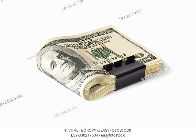 Dollar Bills With Clip Lying Isolated On White Background