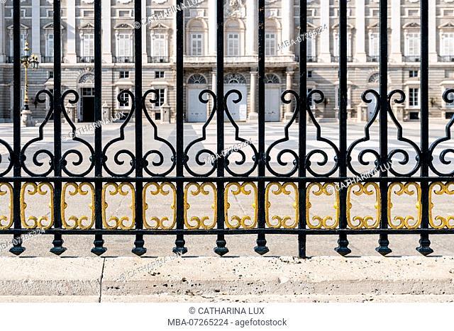 Madrid, Palacio Real, Royal Palace, Plaza de la Armeria, main entrance, lattice