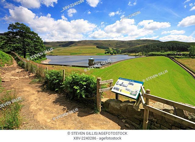 Interpretation panel Kinder Reservoir and Kinder Scout above Hayfield, Peak District National Park, Derbyshire, England, UK