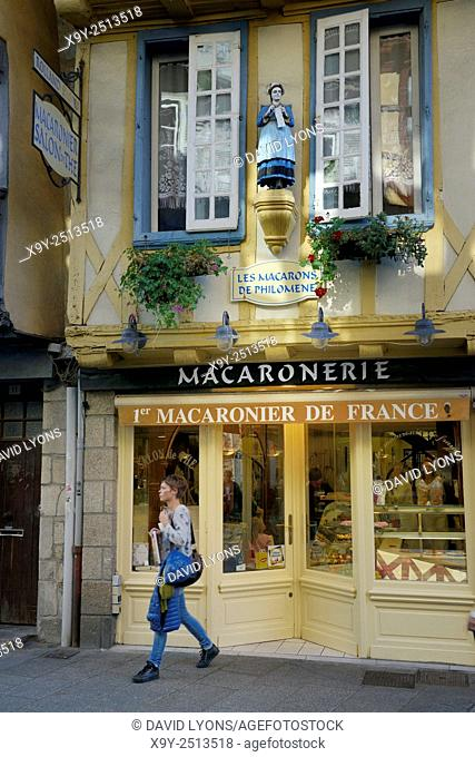 Traditional French macaroon confectionery patisserie tea shop cafe. Rue Kereon in mediaeval centre of Quimper, Finistere, France