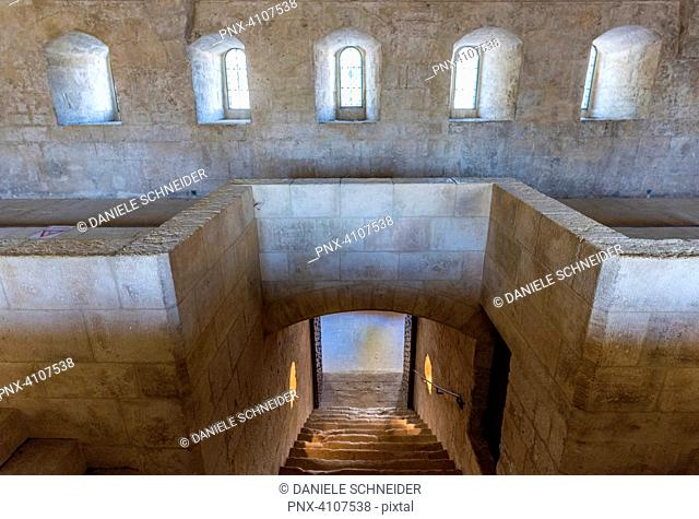 France, Bouches-du-Rhone, cistercian abbey of Silvacane, stairs of the Matins between the monks' dormitory and the church (13th-14th century)