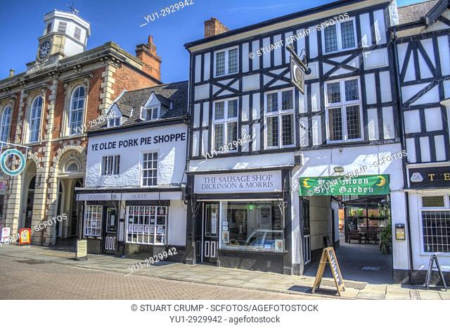 17e7f24b70158 HDR image of Ye Olde Pork Pie Shoppe and the Dickinson & Morris Sausage shop  on Nottingham Street in..., Stock Photo, Picture And Rights Managed Image.  Pic.