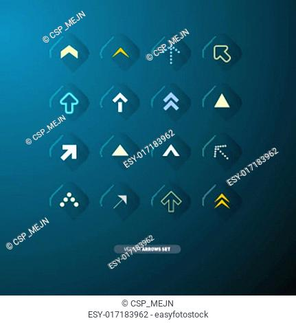 Vector Arrows Set Isolated on Blue Background