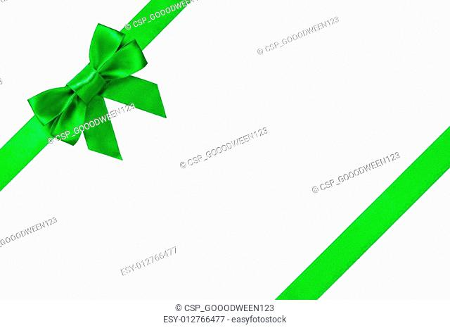 Green ribbons with bow with tails