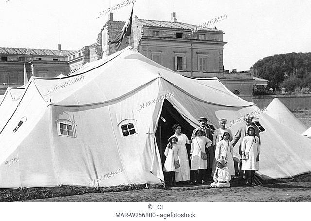 italia, nettuno, tenda con fanciulli tubercolotici, 1910-11