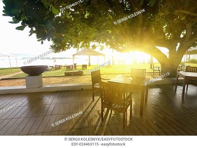 Cafe near ocean in the sunny morning