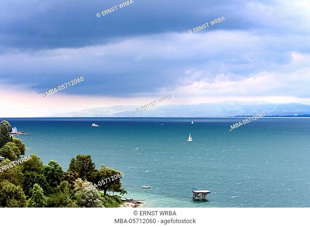 View at Lake of Constance, dark clouds, Überlinger lake with Meersburg, Baden-Wurttemberg, Germany