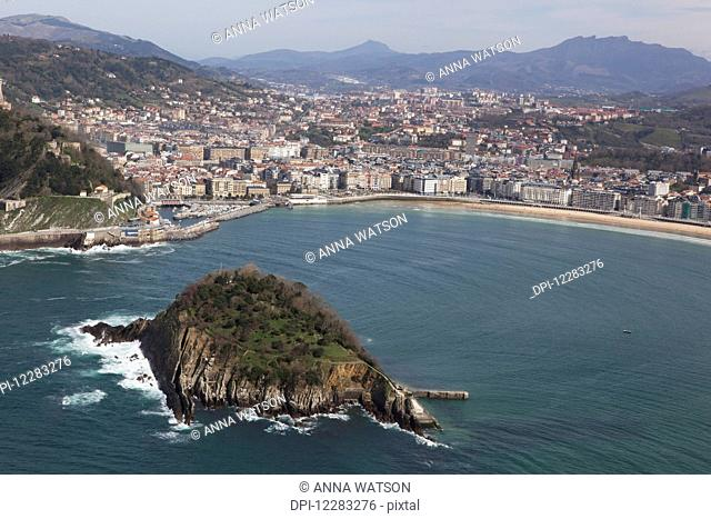 Bay of La Concha beach and the Island of Santa Clara; San Sebastian, Spain