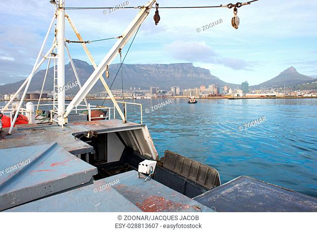 View of Table Mountain from Deck of Ship