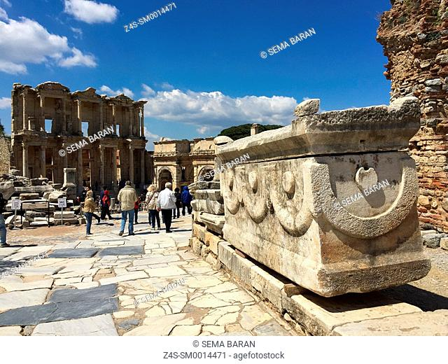 Ancient tomb and LIbrary of Celsus at the Roman ruins of Ephesus, Efes, Selcuk, Kusadasi, Turkey, Europe