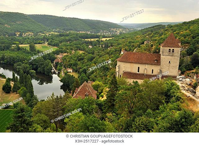 Saint-Cirq-Lapopie, one of the '' Plus Beaux Villages de France'' the most beautiful villages of France, Lot department, region of Midi-Pyrenees