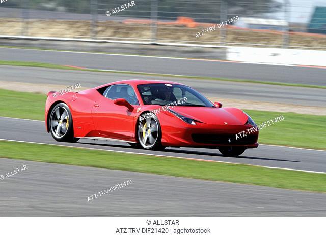 RED FERRARI 458 ITALIA CAR; GRAND PRIX CIRCUIT, SILVERSTONE, ENGLAND; 07/04/2011