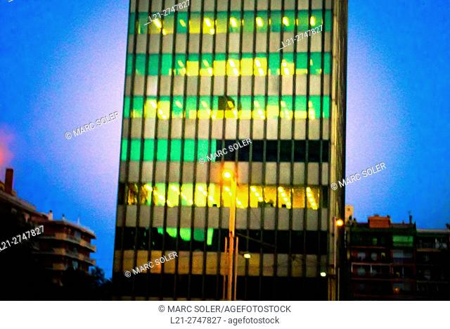 Office building at night. Barcelona, Catalonia, Spain