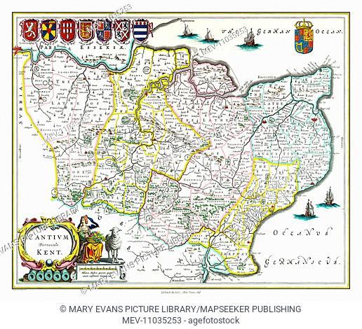 Map of Kent by Johan Blaeu