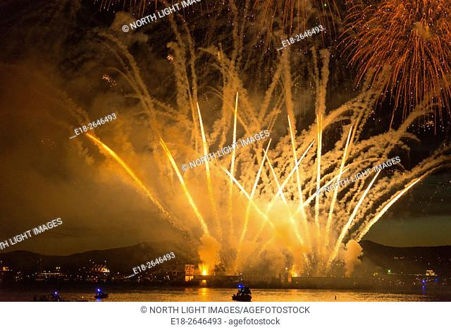 Canada, BC, Vancouver. Firework fired from barge in English Bay during the annual Fireworks Festival