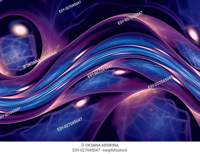blue violet abstract wave psychedelic background. Fractal artwork for creative design
