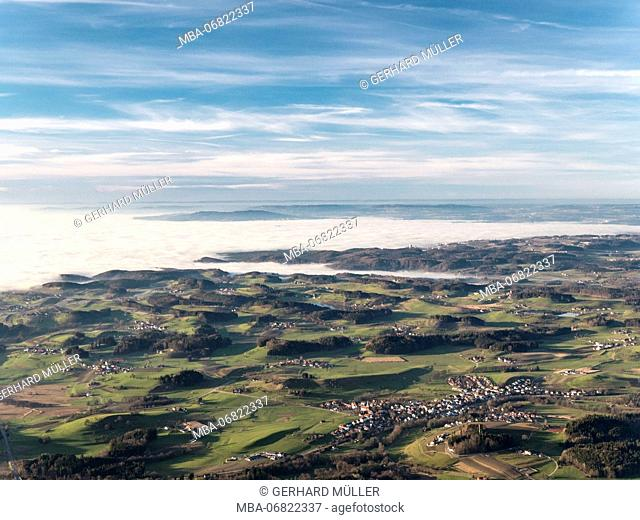 View of Upper Swabia, clouds above Lake Constance