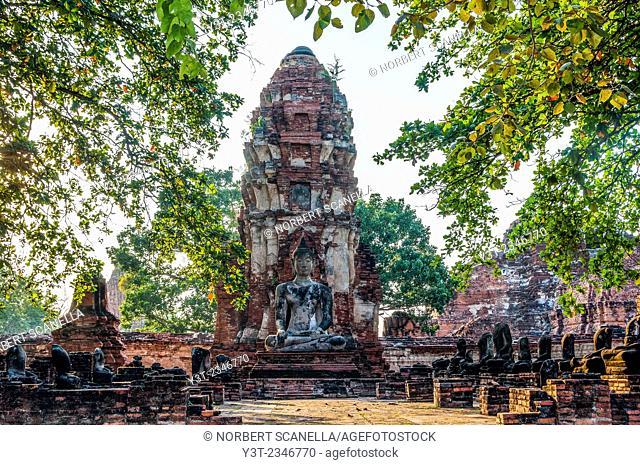 Asia. Thailand, Phra Nakhon Si Ayutthaya, old capital of Siam. Ayutthaya archaeological Park, classified UNESCO World Heritage. Wat Phra Mahathat
