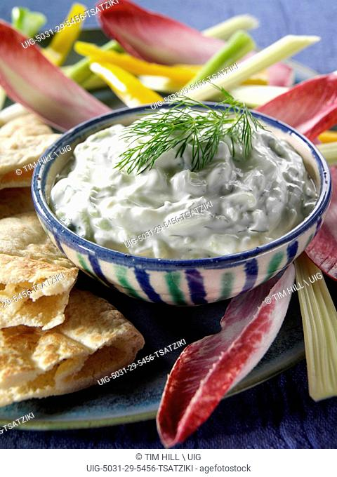 Bowl of Greek Tsatziki with Pitta Bread and Crudites