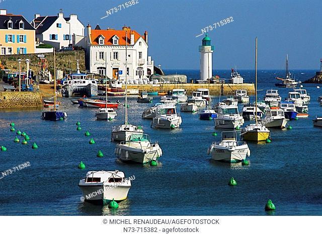 Port of Sauzon, Belle-Île-en-Mer. Morbihan, Bretagne, France