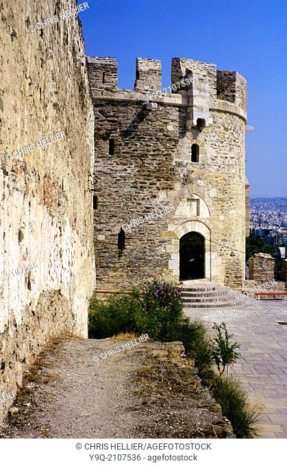 Djinghirli Tower & Byzantine Theodosian Town or City Walls Thessaloniki Greece