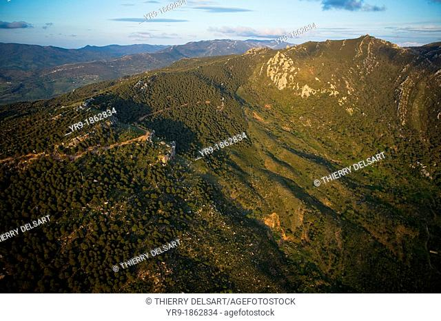 HIlls & mountains at sunset  Aerial view Tahivilla Cadíz area Spain