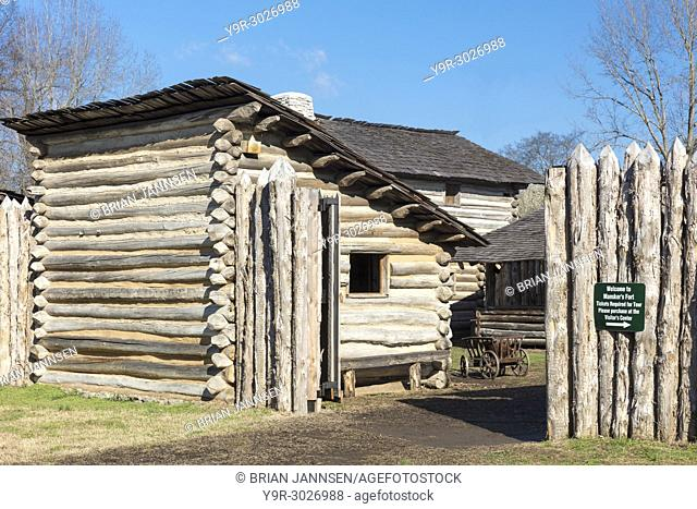 Mansker's Station - a reproduction of the 18th Century American frontier fort situated here, about 10 miles north of Nashville in Goodlettsville, Tennessee, USA