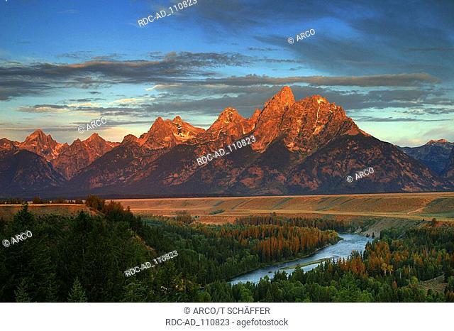 Teton Range and Snake River in morning light national park Grand Teton Wyoming USA