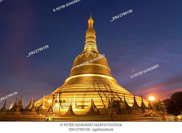 Shwemawdaw Pagoda at dusk, in Bago, Myanmar, Asia