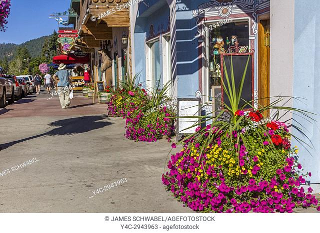 Front Street in Leavenworth a Bavarian-styled village in the Cascade Mountains in central Washington State in Chelan County, Washington, United States