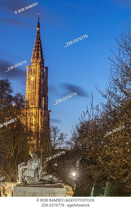 Strasbourg Cathedral, view from a park in the city of Strasbourg in France