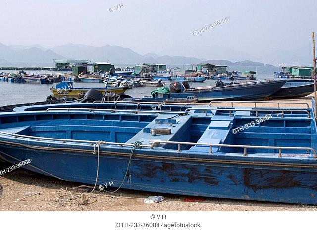 Fishing boats on the seashore of Kat O island, Crooked Island, Hong Kong