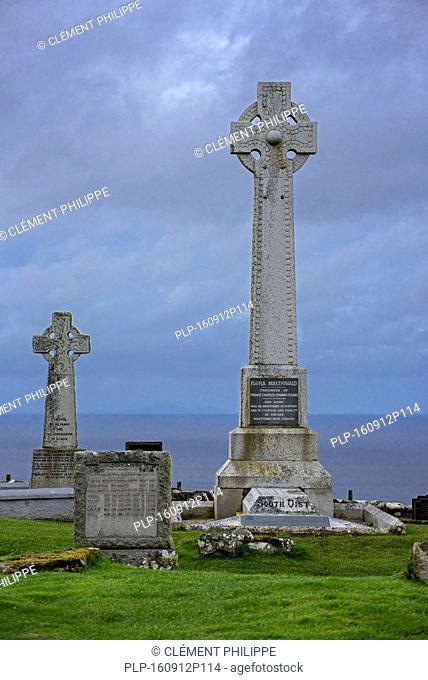Flora MacDonald's monument on the Kilmuir Cemetery, Isle of Skye, Scottish Highlands, Scotland