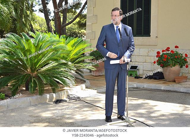 Spanish Prime Minister Mariano Rajoy at the Palace of Marivent, Palma de Mallorca, Balearic Islands, Spain
