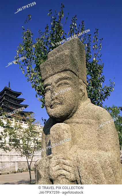 Korea, Seoul, Gyeongbokgung Palace, National Folk Museum, Ancient Korean Stone Statues
