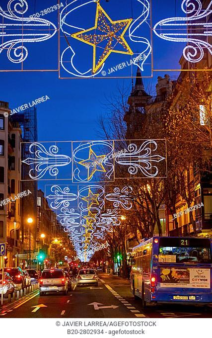 Urbieta street, Christmas, Donostia, San Sebastian, Gipuzkoa, Basque Country, Spain, Europe