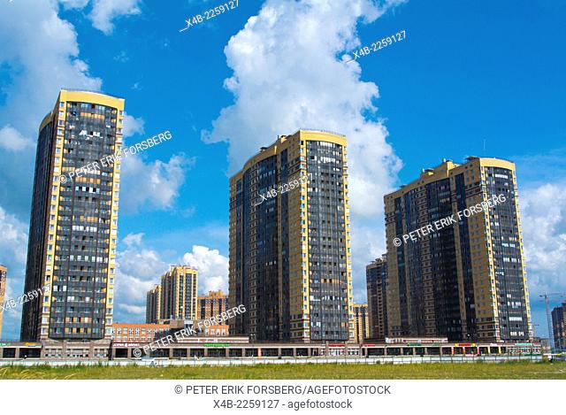 New residential tower blocks, next to Parnas metro station, Vyborgskiye district, Saint Petersburg, Russia, Europe
