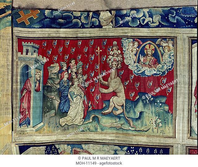 La Tenture de l'Apocalypse d'Angers, Nouvelle adoration de la Bête 1,56 x 2,59m, erneute Anbetung des Tieres