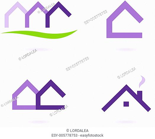 Real Estate Logo And Icons Vector - Purple and Green
