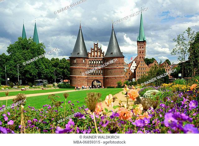 Europe, Germany, Schleswig-Holstein, Hanseatic City of Lübeck, Holsten Gate, built in 1464 to 1478, brick building, historic building, museum