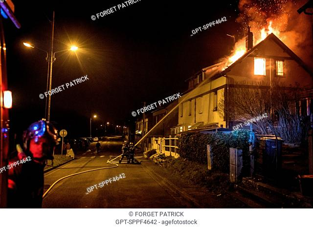 HOUSE FIRE IN THE NEIGHBORHOOD OF THE CITE DU MOULIN A PAPIER, RUGLES (27), FRANCE