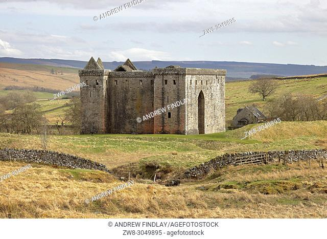 Hermitage Castle, Newcastleton, Roxburghshire, Scottish Borders, Scotland, built in the 14th and 15th centuries, located in the debatable lands between England...