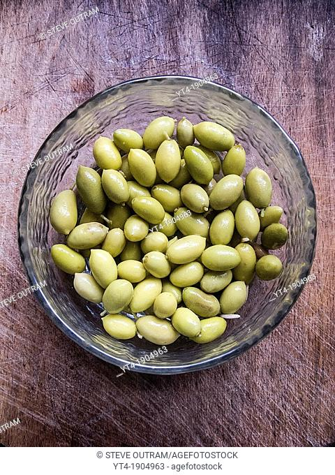 Bowl of small Green Olives