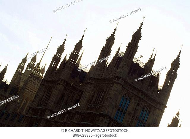 Silouhette of the Houses of Parliament in London. England, UK