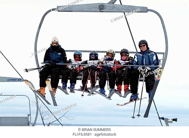 Skiers on a Chairlift, Snow Valley, Barrie, Ontario