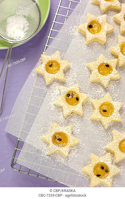 Star Shaped Biscuits on Baking Sheet, Uncooked