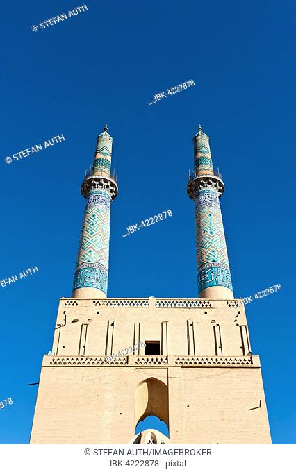 Masjid-i Jami mosque twin minarets, Yazd, Iran