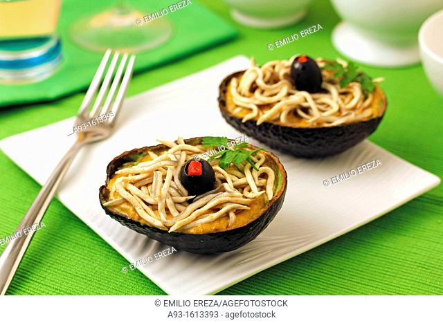 Stuffed avocados with gulas elvers substitute