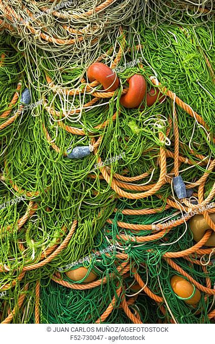 Fishing nets, Port of Chipiona. Costa de la Luz, Cadiz province, Andalucia, Spain