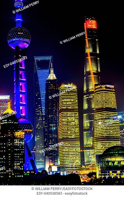 Oriental Pearl TV Tower Pudong Reflections Night Lights Huangpu River Three Skyscrapers Cityscape Shanghai China